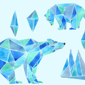 polar bear in blue