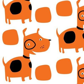 Retro dog in orange