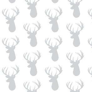 gray on white deer head
