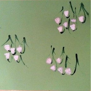 Snowdrop flowers on green