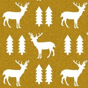 deer golden yellow linen