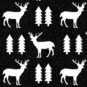 deer forest black linen