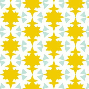 star and triangles mint yellow