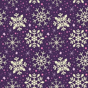 Boysenberry Purple & White Snowflakes