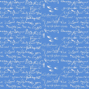 Cornflower Blue French Script
