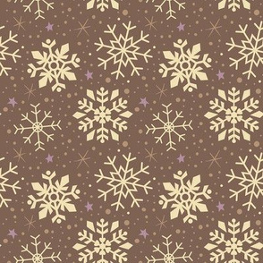 White and Gingerbread Brown Snowflakes
