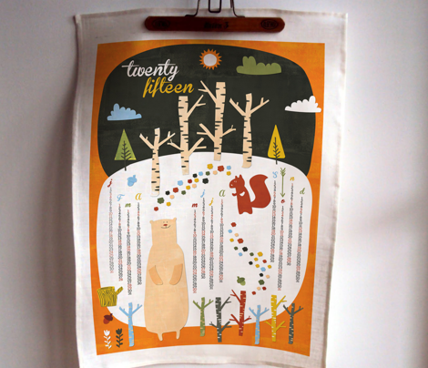 2015 tea towel woodlands calendar