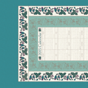 CAL2015-Natural-flowers textured embroidery borders - 18x27 - cream-seafoam-bluegreens