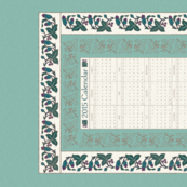 CAL2015-Natural-flowers textured embroidery borders - 18x27 - cream-seafoam-bluegreens-copper