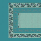 CAL2015-Natural-flowers textured embroidery borders - 18x27 - seafoam-bluegreens-copper-redviolet