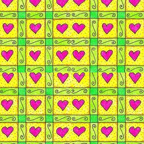 Crazy Sunflowers Heart Squares Yellow
