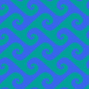 swirling blue waves