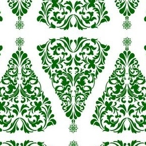 Christmas Tree Damask Green