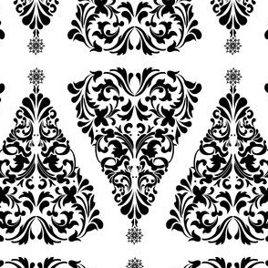 Christmas Tree Damask Black