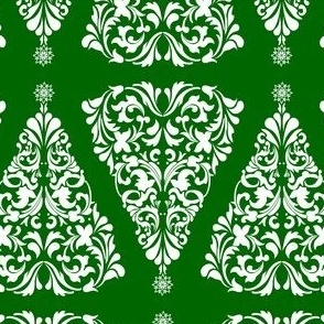 Christmas Tree Damask White