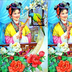 asian china chinese oriental chinoiserie ancient dynasty empress queens princess royalty palace gardens peony mudan flowers trees parrots