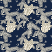 Glittering Silvery Pines Navy
