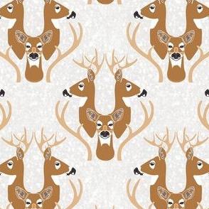 Snowy Deer Damask