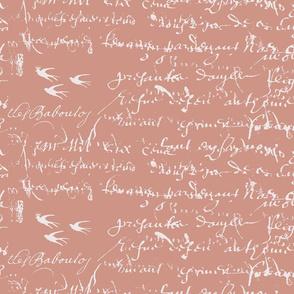 Dark Peach French script