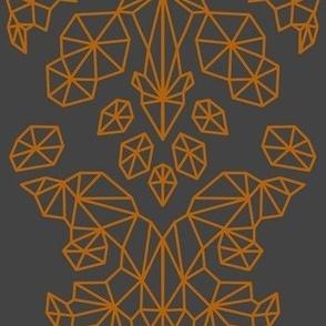 Geometric Brocade Orange and Dark Grey