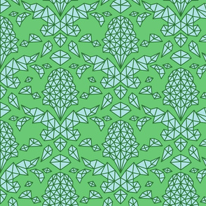 Geometric Brocade Green and Blue