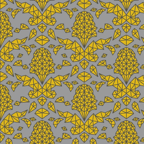 Geometric Brocade Yellow and Grey