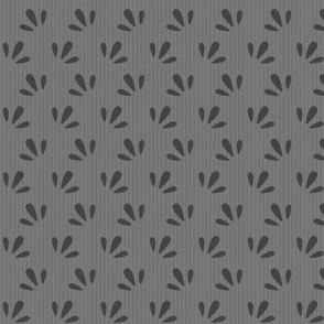 dark grey on light grey pinstripe florets