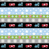 Holiday Stripes - truck and trains