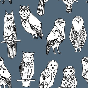 Geometric Owl - Payne's Grey/white by Andrea Lauren