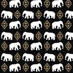 elephant black gold glitter