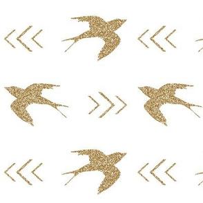 swallow bird gold glitter