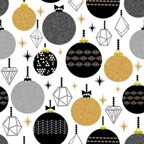 holiday ornaments - black gold glitter triangles