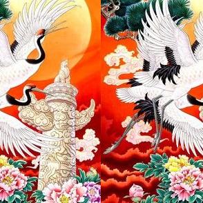 royal novelty thrones asian china chinese oriental cheongsam kimono cranes birds sun totems clouds mudan peony flowers trees gardens chinoiserie