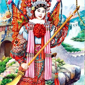 asian china chinese oriental fighting woman lady warriors war battles traditional martial arts kung fu spear beijing peking opera soldiers rivers mountains hills lakes fortress knights dynasty