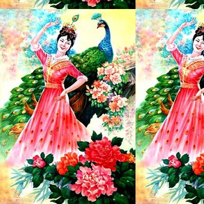 asian china chinese oriental chinoiserie ancient dynasty dancing dancer maidens peacocks mudan flowers peony gardens trees