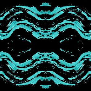 Blue Turquoise Ocean Wave on black Ripple Pattern