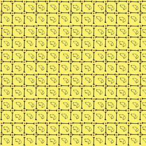 Dachshund plaid on yellow background