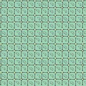 Dachshund plaid on green background