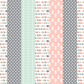 Pink/Grey/Mint 1 yard cut Wholecloth quilt top