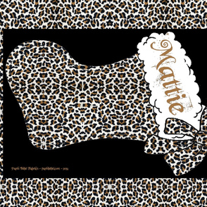 CUSTOM NAME One yard Leopard Bow Stocking Paris Bebe
