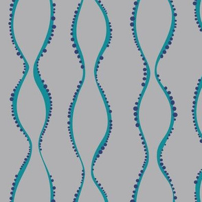Bubble Waves Grey and Teal