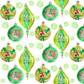 Christmas ornaments in green