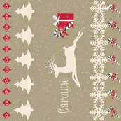 Rain deer Candy Cane Snowing VERTICAL-personalized
