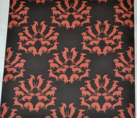 Doxie Damask Brown on Black