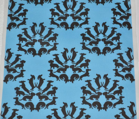 Doxie Damask Black on Blue