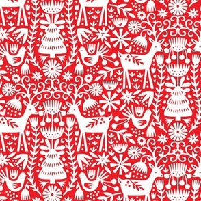 Nordic Reindeer - Red and White
