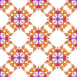 Orange purple criss cross