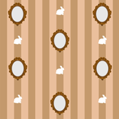 Bunny and Mirrors with Stripe- Tan