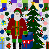 Santa Loves Christmas Fabric