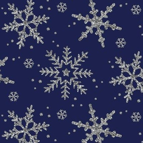 Snowflake Shimmer in Navy